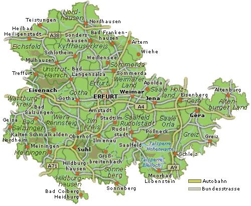 Karte Von.Karte Von Thüringen Urlaubsland Thueringen De