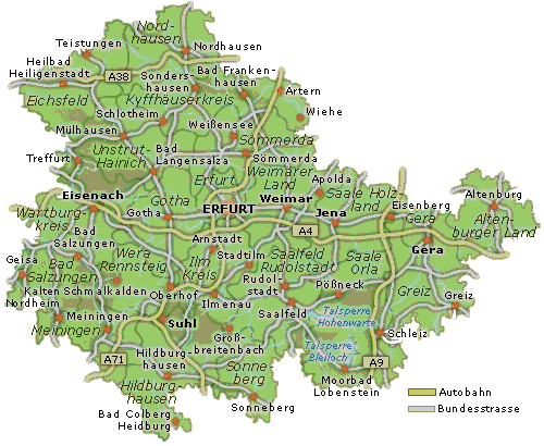 karte von thüringen Karte von Thüringen   Urlaubsland Thueringen.de karte von thüringen