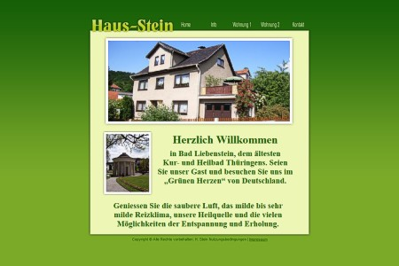 Screen-Shot der Website www.haus-stein.de