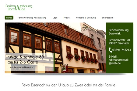 Screen-Shot der Website www.fewo-eisenach.de